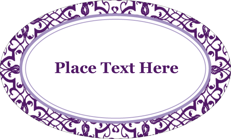"1½"" x 2½"" Oval Glossy Label - Purple Swirls Pattern"