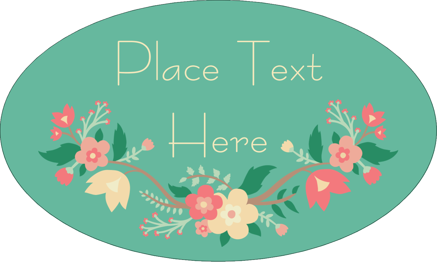 "1½"" x 2½"" Oval Glossy Label - Floral Wreath"