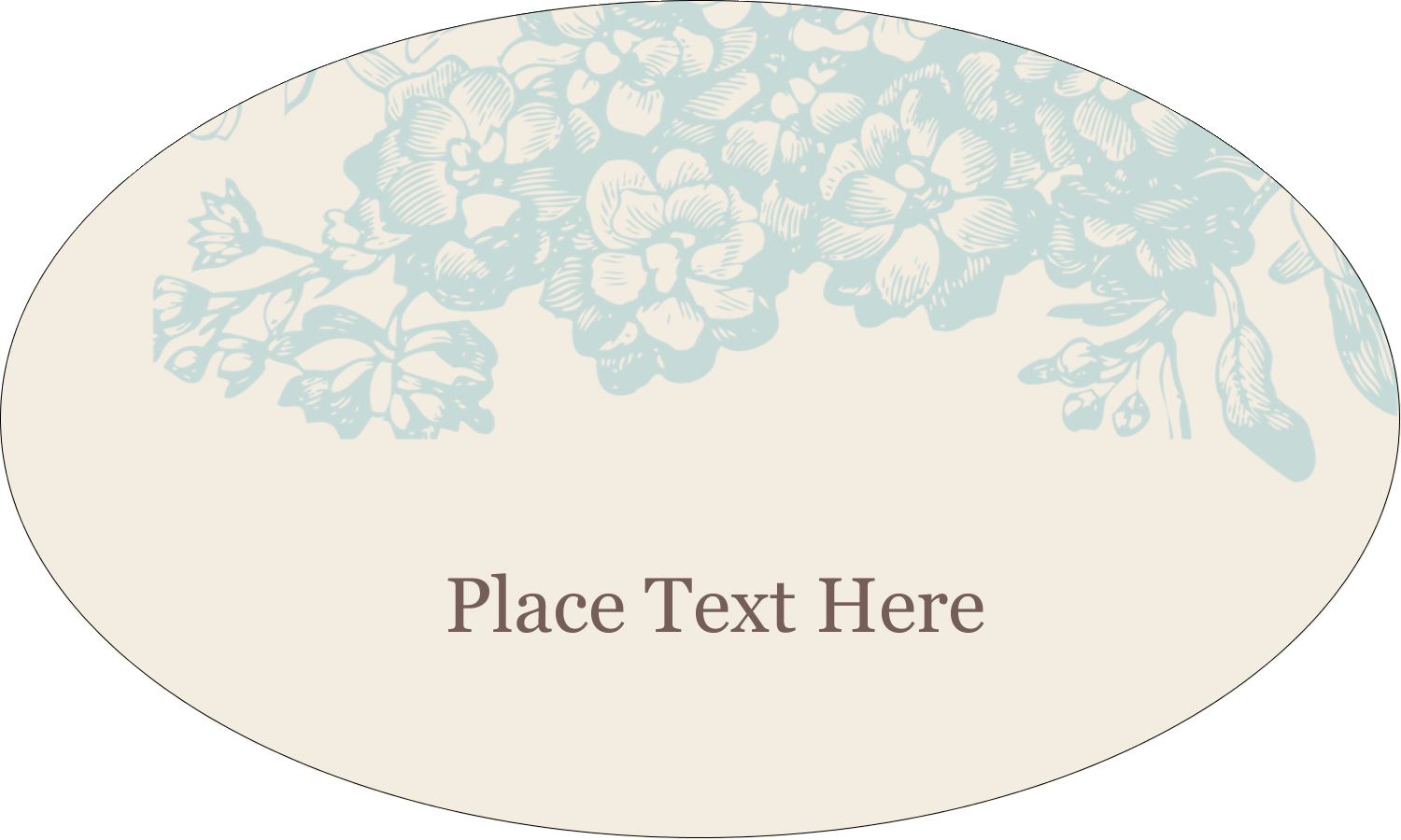 "1½"" x 2½"" Oval Glossy Label - Blue Flower"