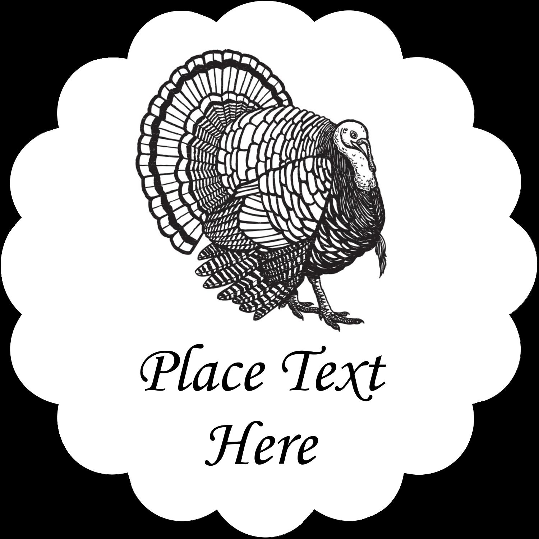"2½"" Scallop Labels - Thanksgiving Vintage Turkey"