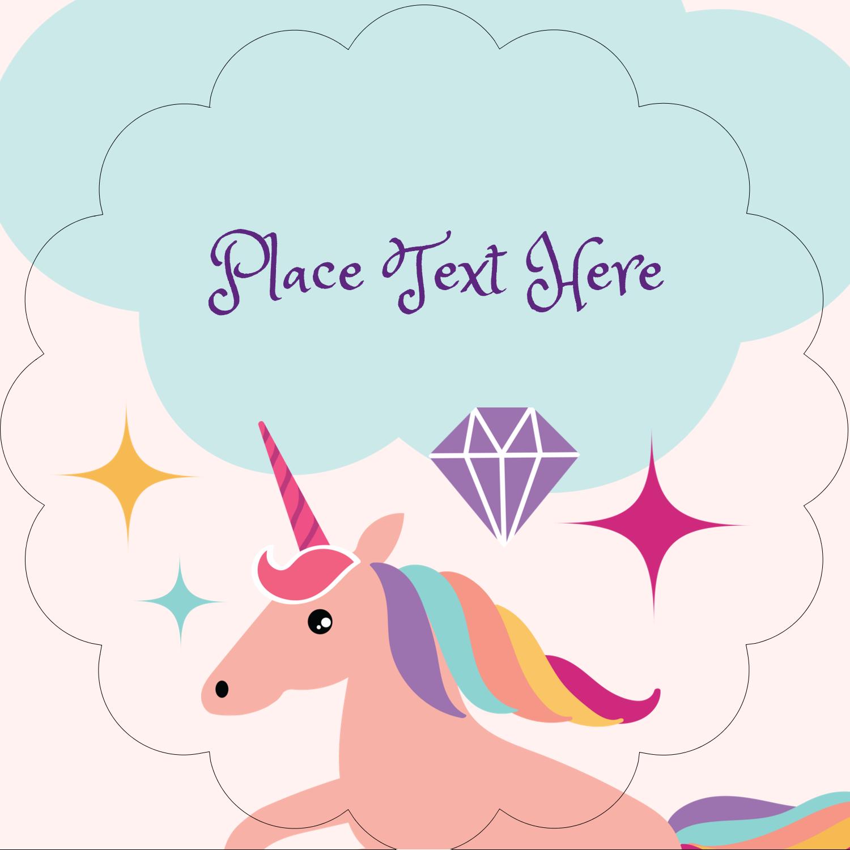 "2½"" Scallop Labels - Unicorn Party"