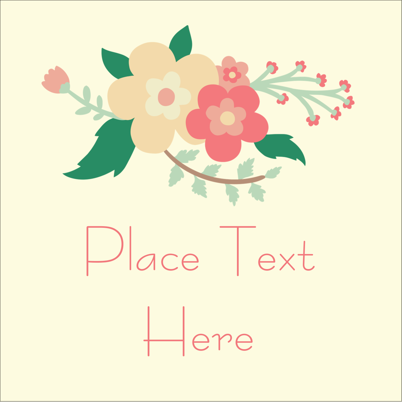 "1½"" x 1½"" Square Label - Floral Wreath"