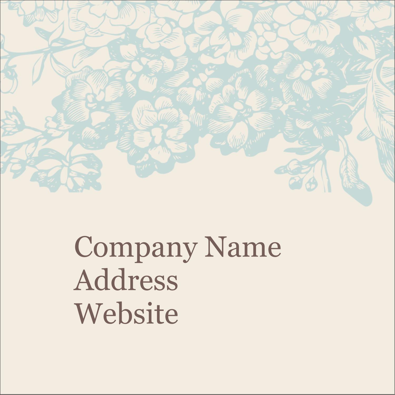 "1½"" x 1½"" Square Label - Blue Flower"