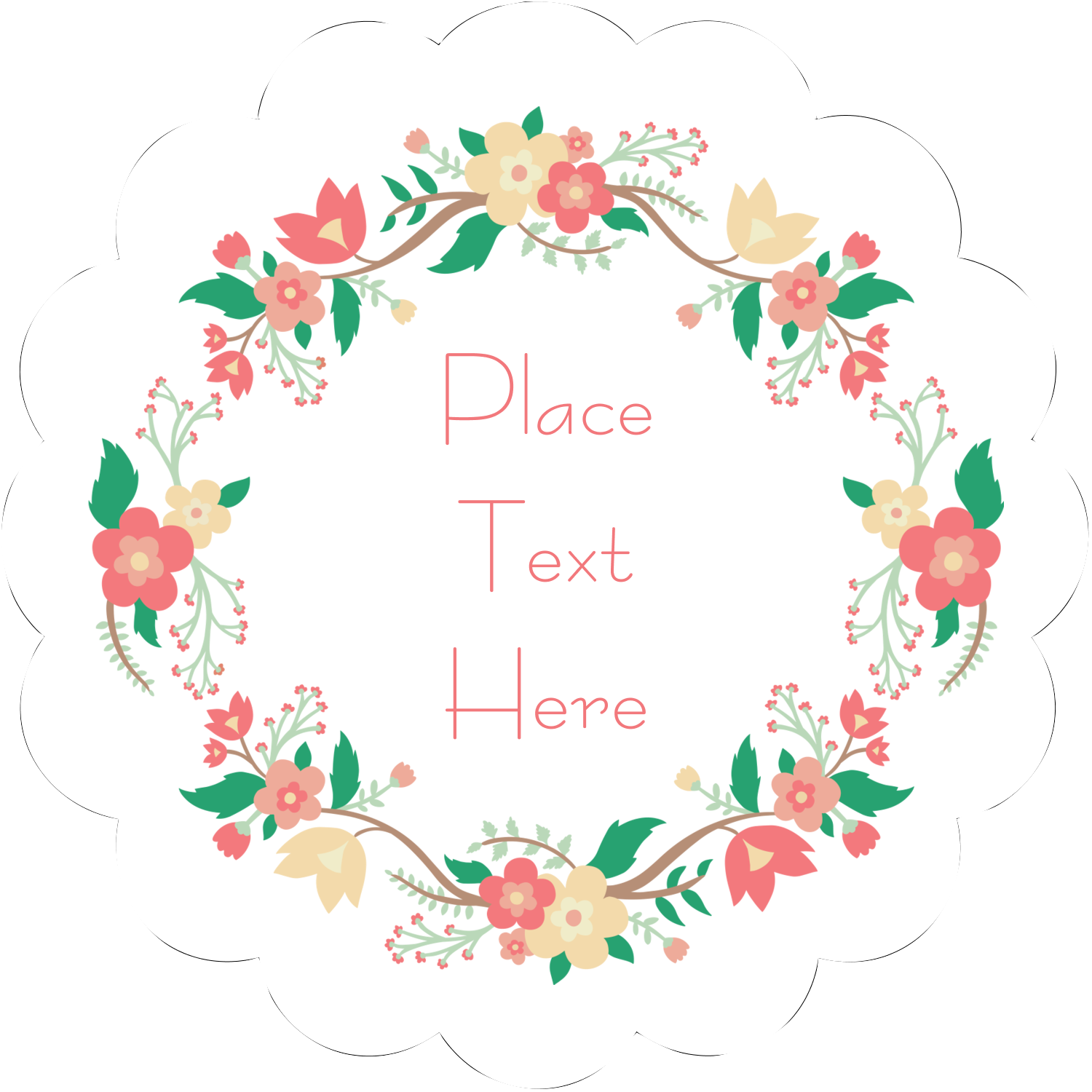 "2½"" Scallop Labels - Floral Wreath"