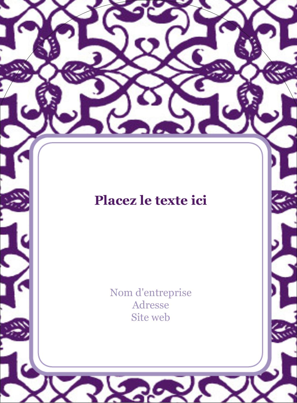 """4¾"""" x 3½"""" Étiquettes rectangulaires - Motif de tourbillons violets"""