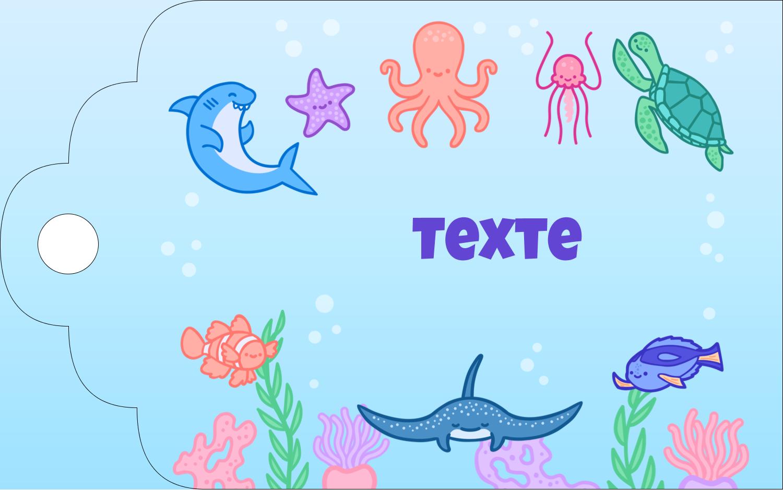 """2"""" x 1⅛"""" Étiquettes imprimables - Au cœur de l'océan"""