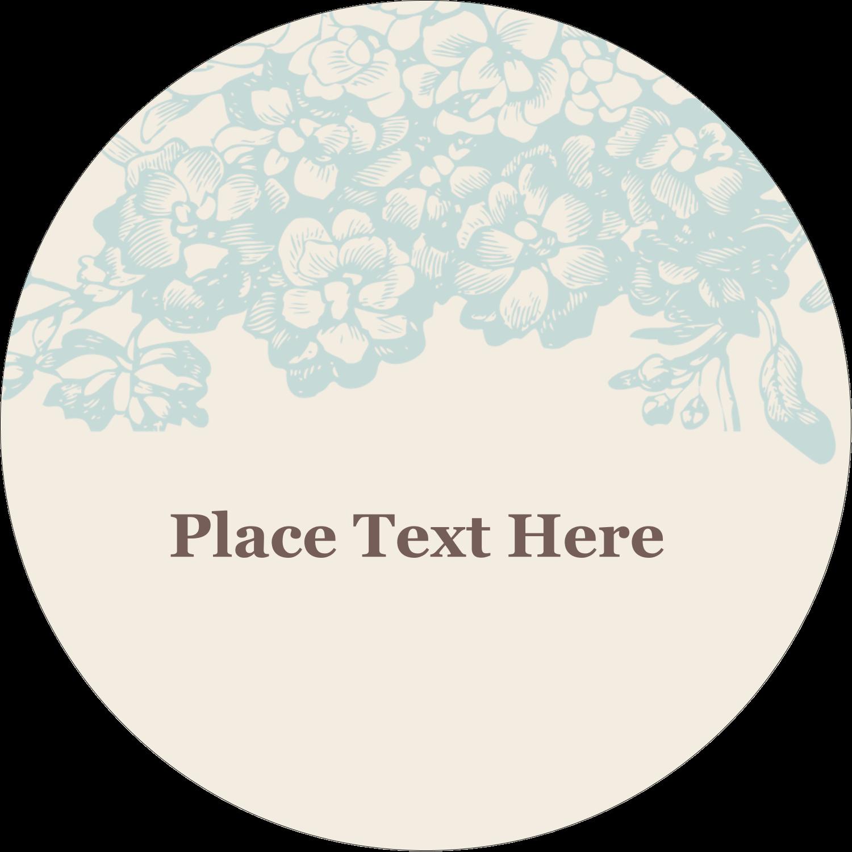 """2½"""" Round Label - Blue Flower"""