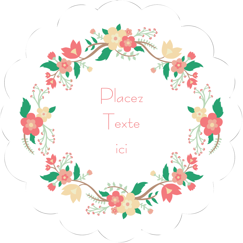 """2½"""" Diameter Étiquettes rondes - Couronne florale"""
