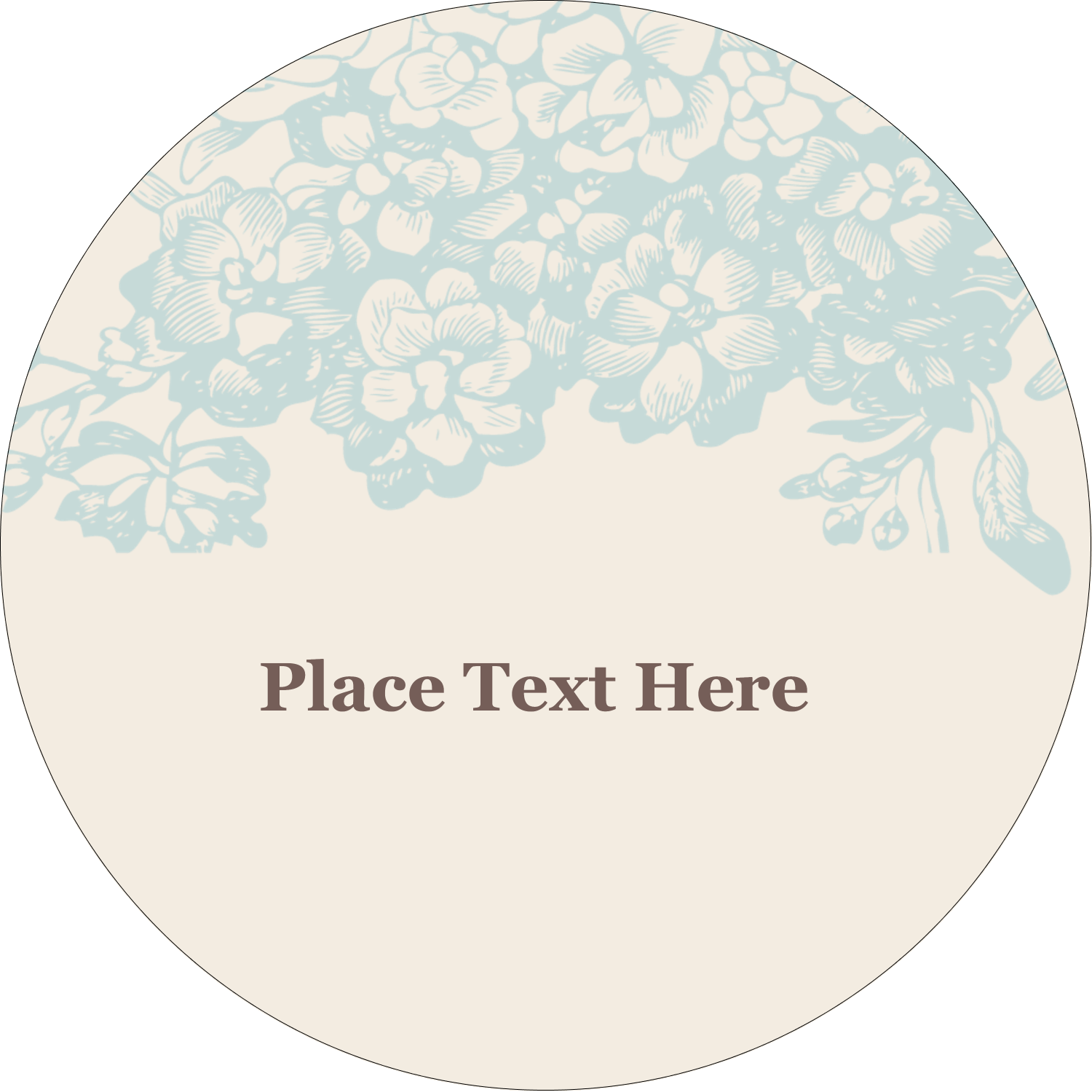 "2"" Embossed Round Label - Blue Flower"