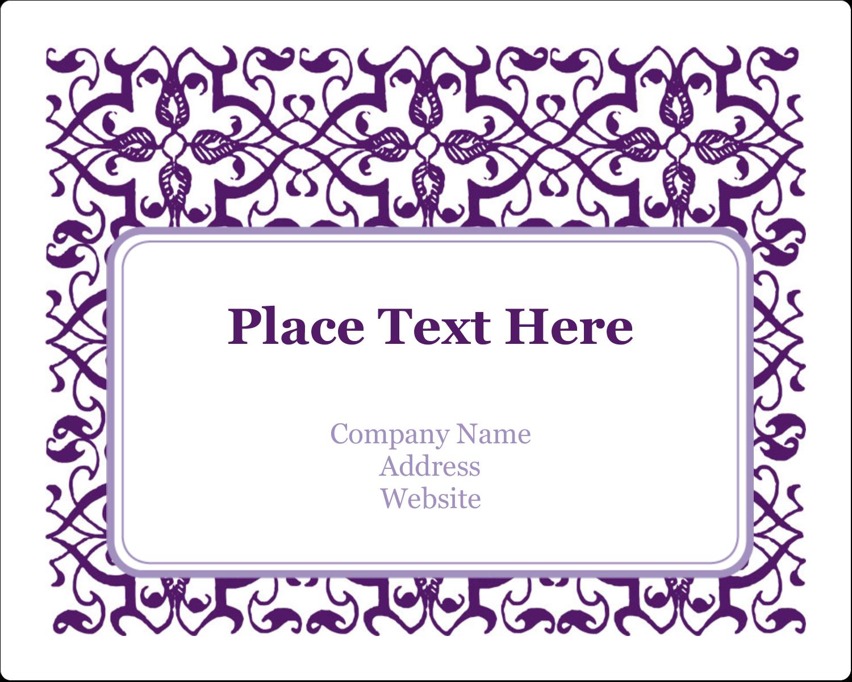 "3"" x 3¾"" Rectangular Label - Purple Swirls Pattern"