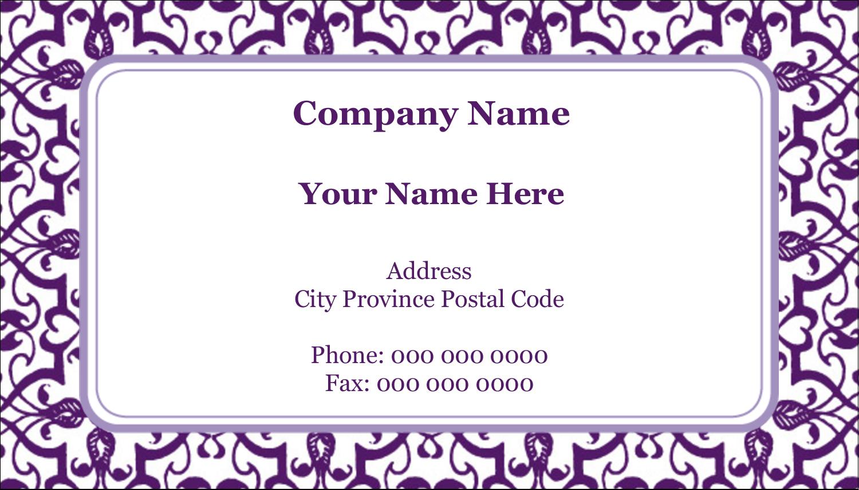 "2"" x 3½"" Business Card - Purple Swirls Pattern"