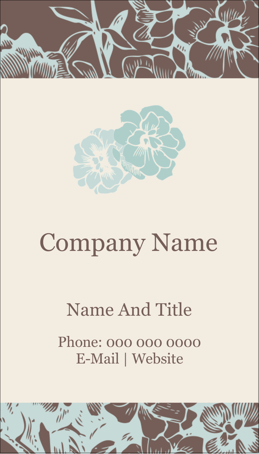 "3½"" x 2"" Business Card - Blue Flower"