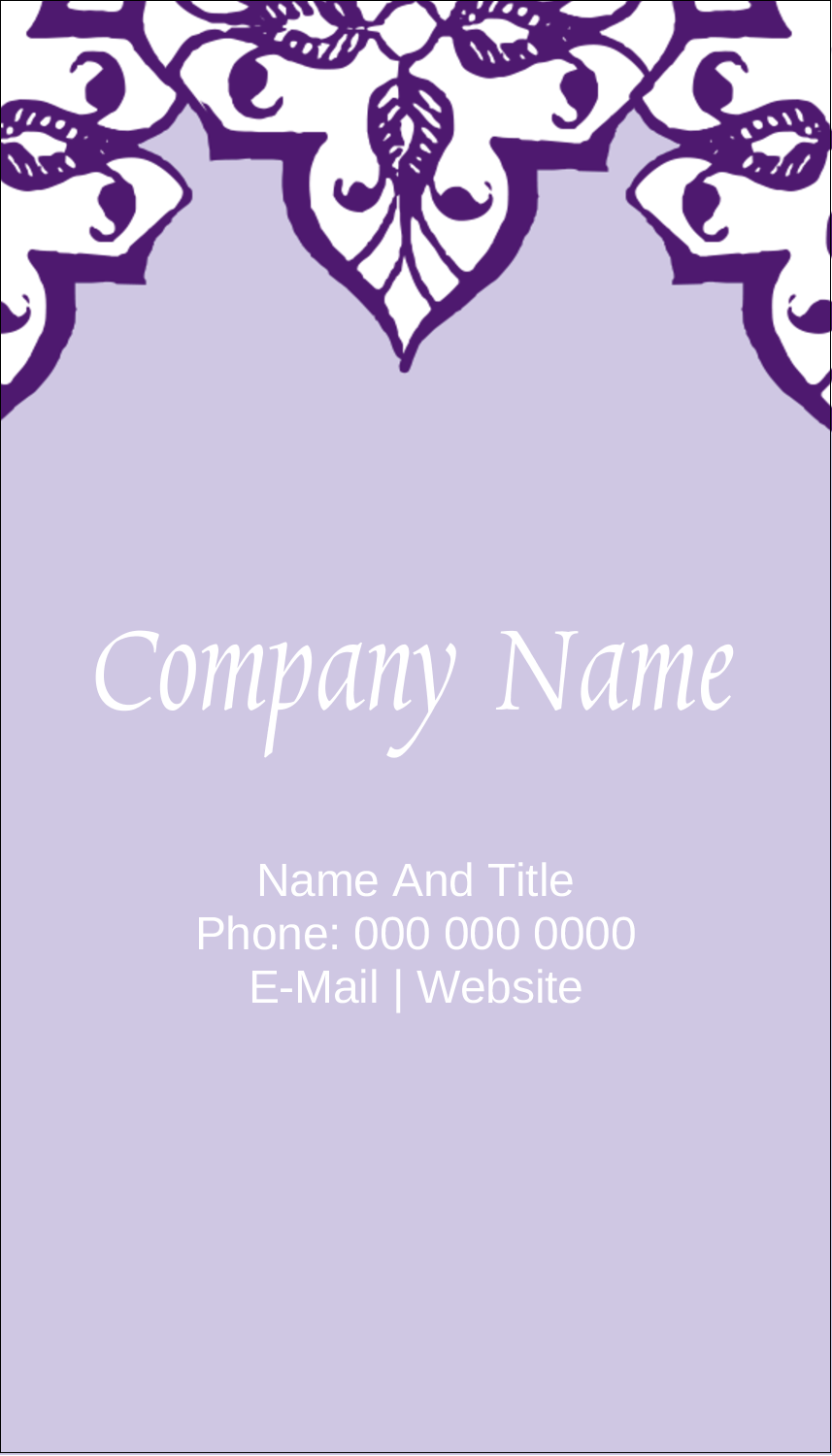 "3½"" x 2"" Business Card - Purple Swirls Pattern"