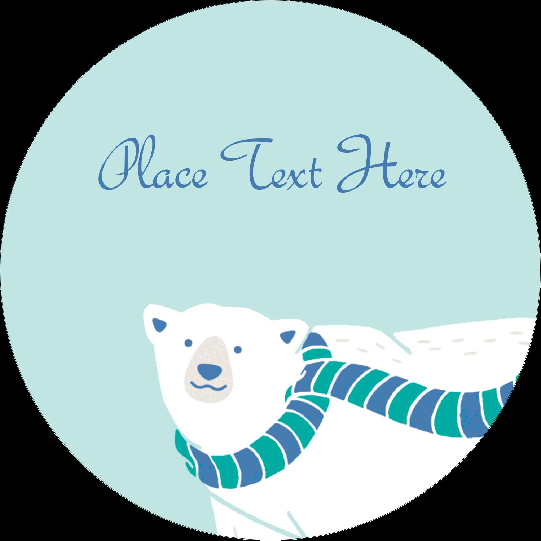 "3"" Round Label - Polar Bear"