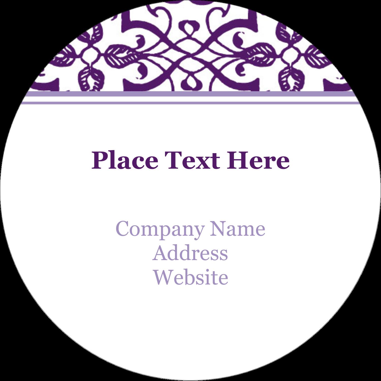 """3"""" Round Label - Purple Swirls Pattern"""