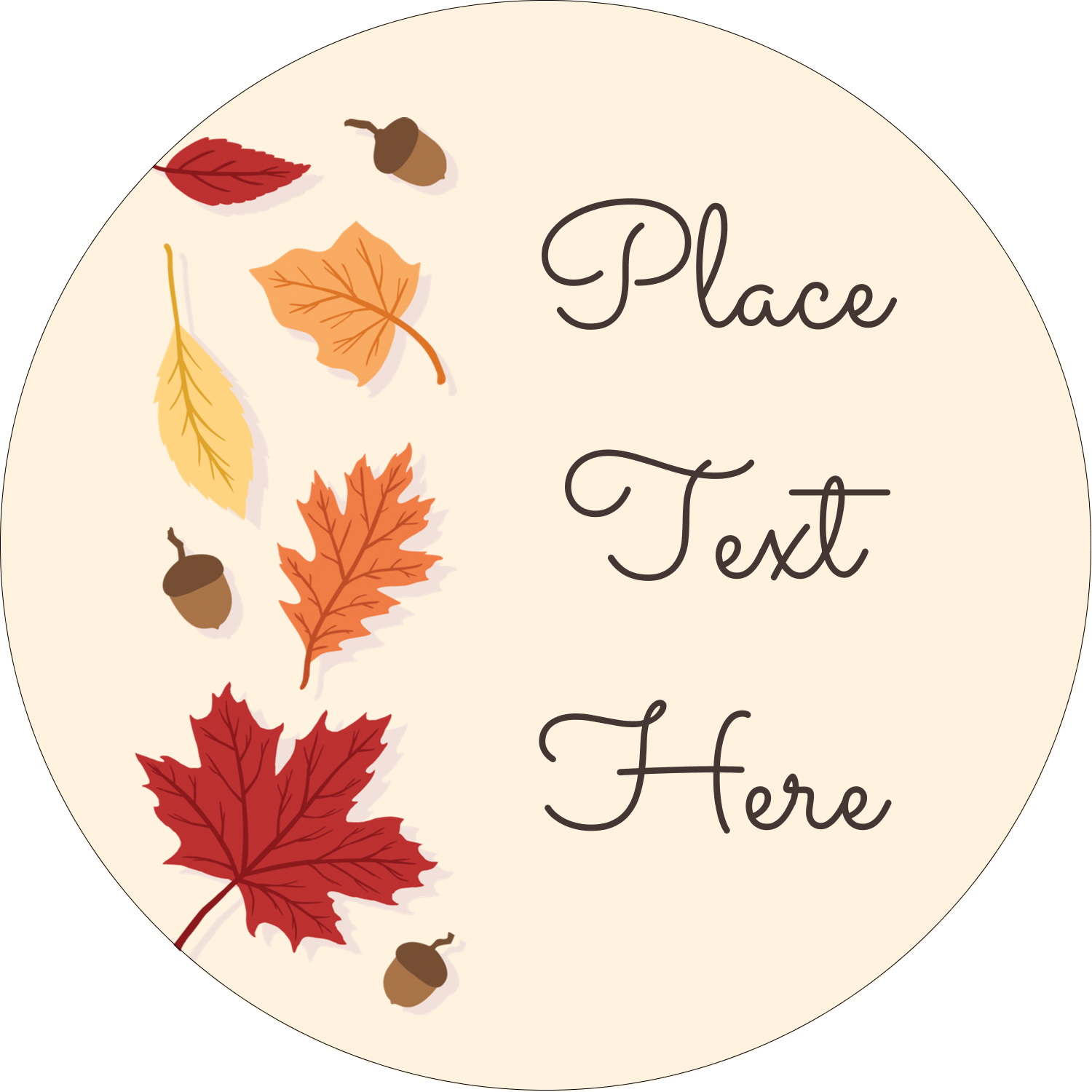 "3"" Round Label - Thanksgiving Leafy"