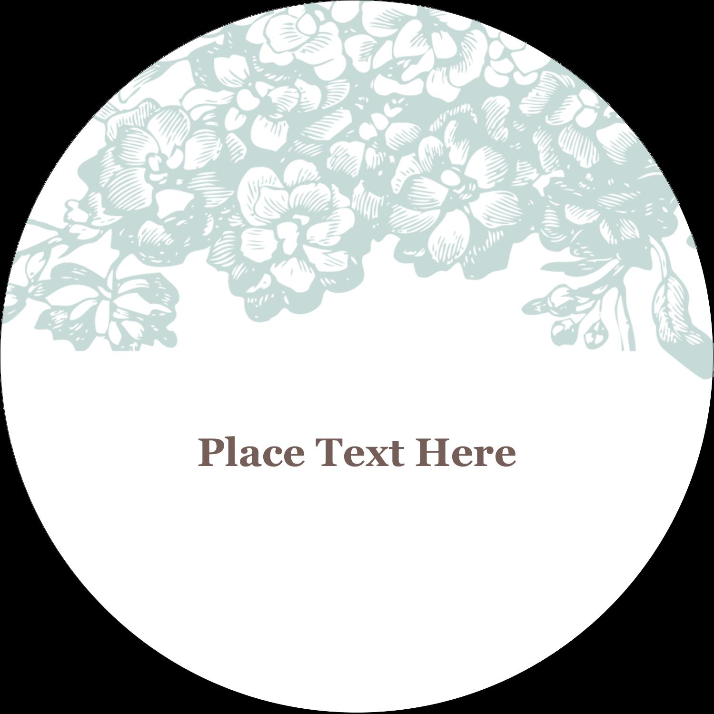 """3"""" Round Label - Blue Flower"""