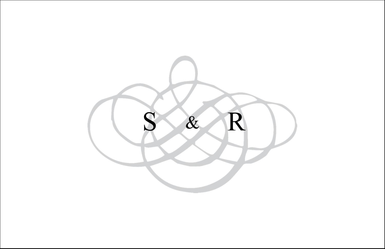"""5½"""" x 8½"""" Cartes de souhaits pliées en deux - Monogramme de mariage"""