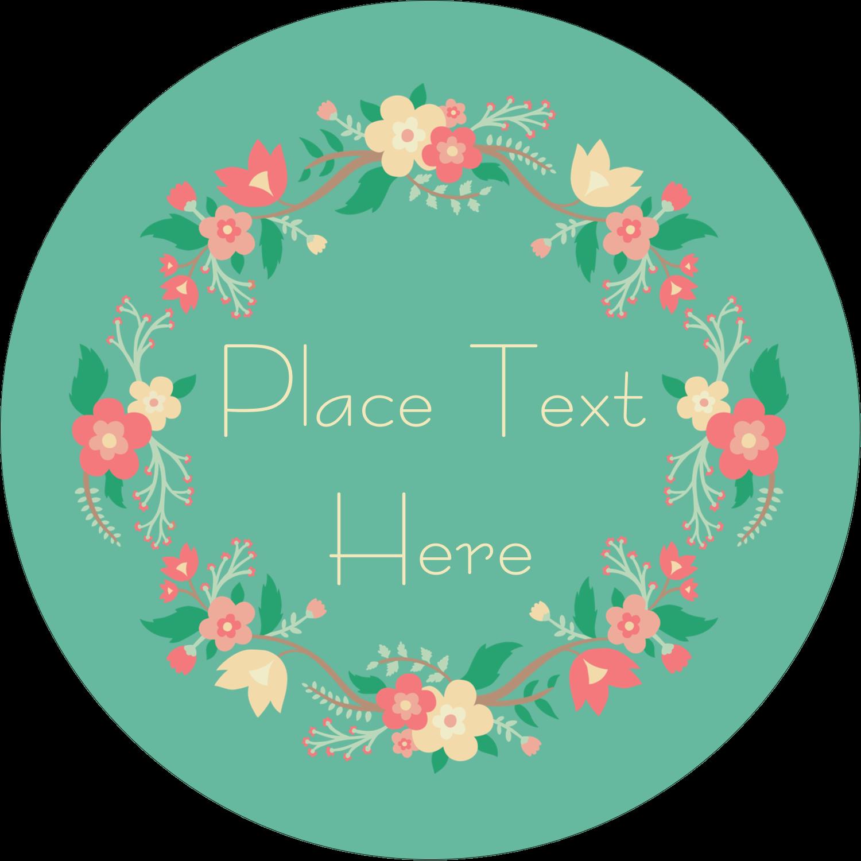 """2½"""" Round Label - Floral Wreath"""