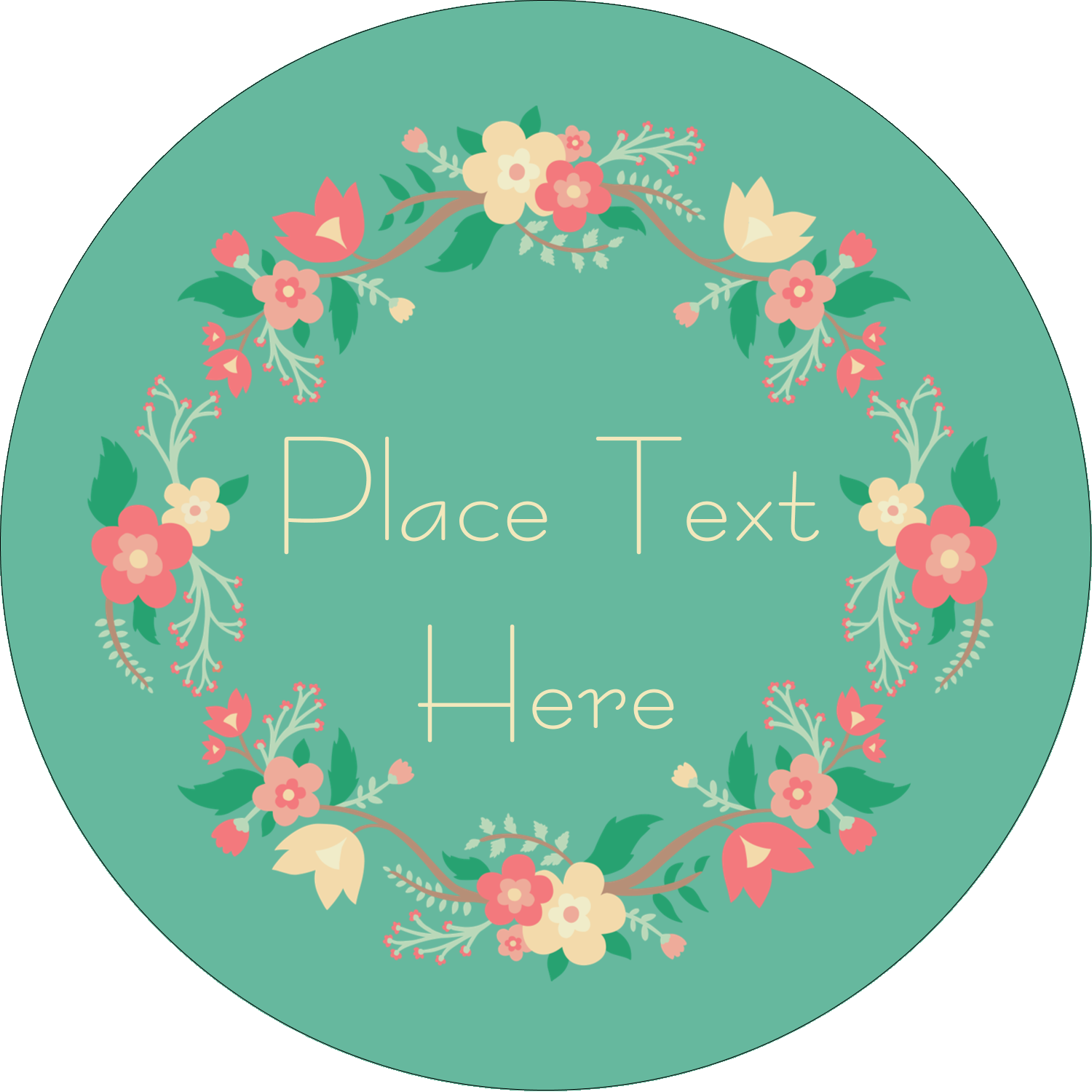 "2½"" Round Label - Floral Wreath"