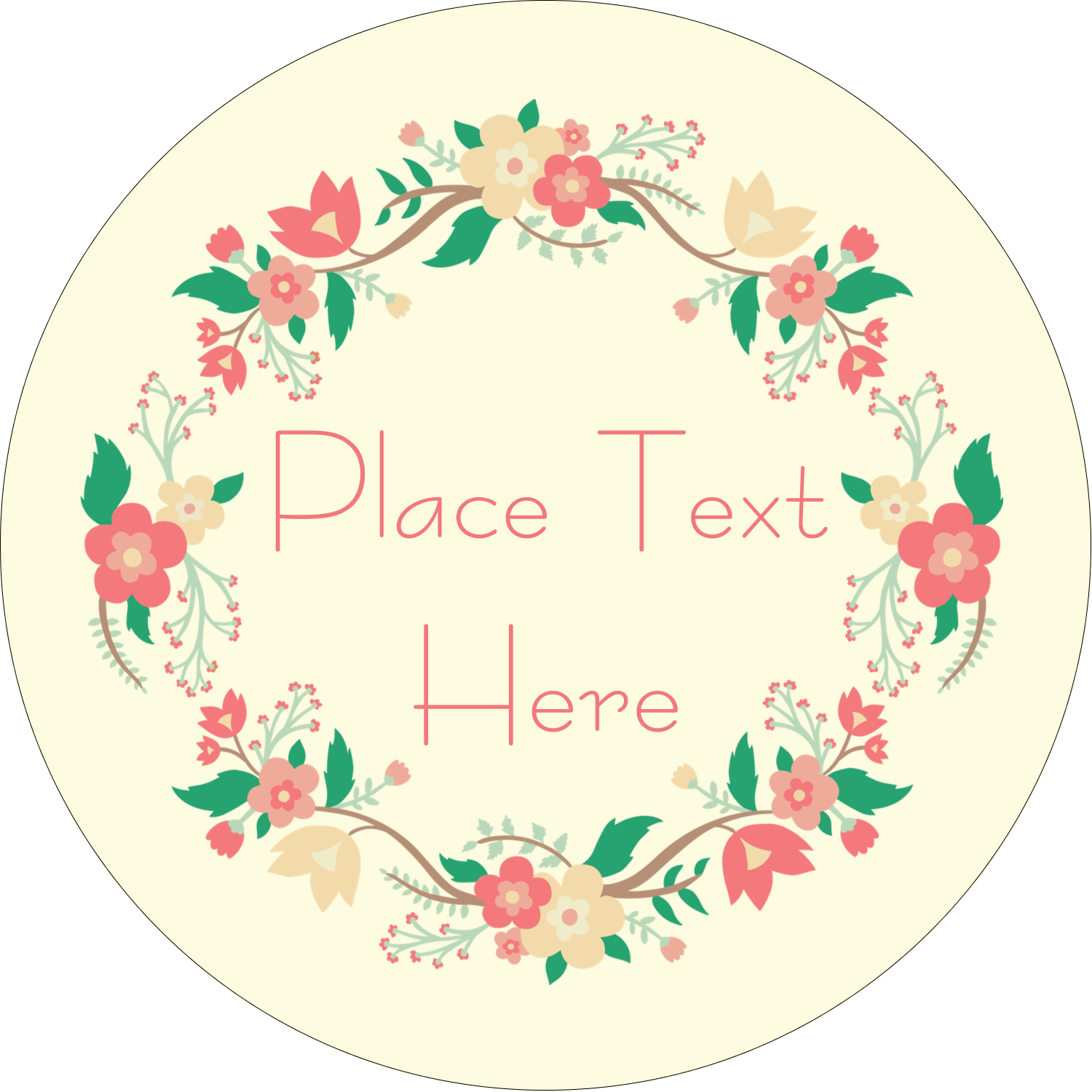 "2"" Round Label - Floral Wreath"