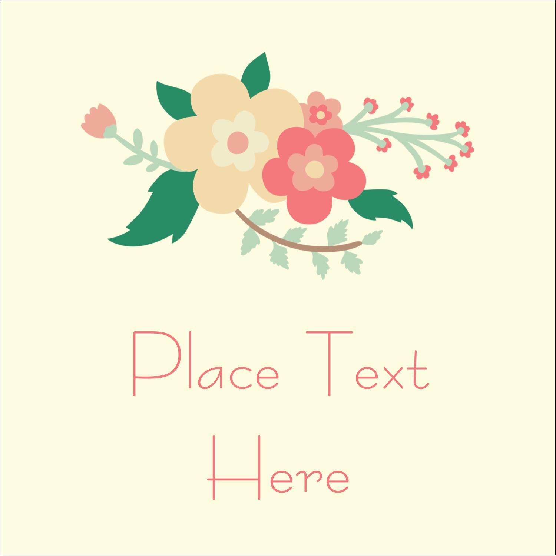 "2"" x 2"" Sqaure Label - Floral Wreath"