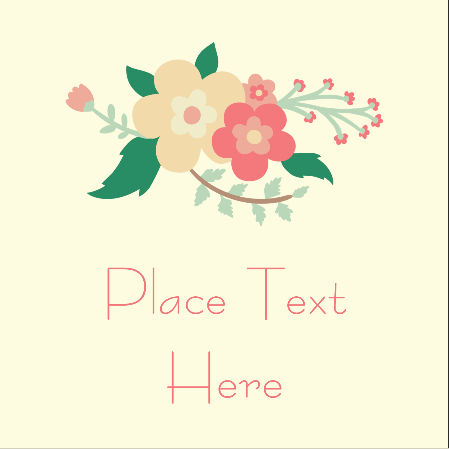 "2"" x 2"" Square Label - Floral Wreath"