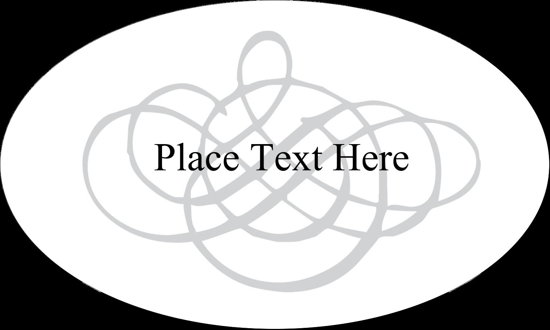 "1½"" x 2½"" Oval Glossy Label - Wedding Monogram"