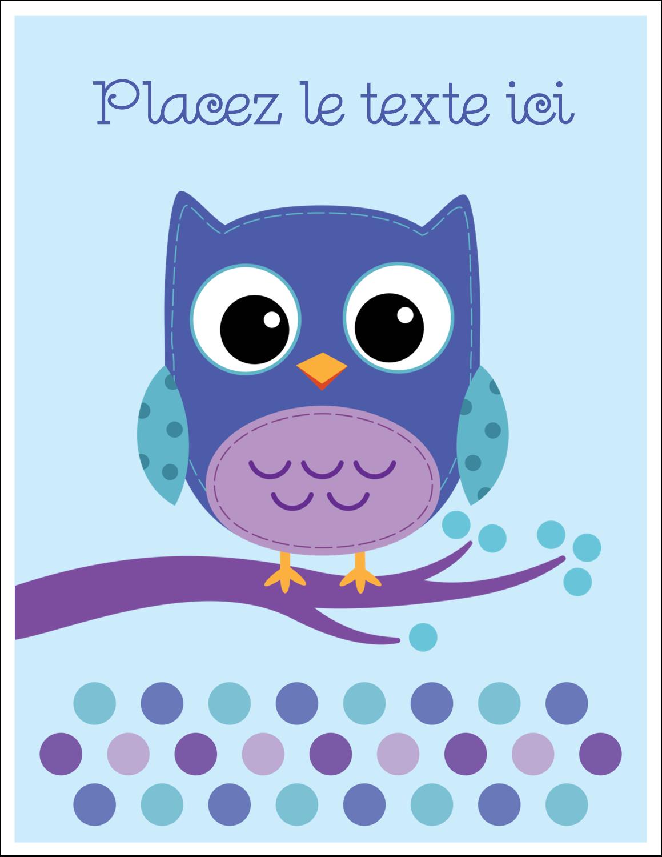 """8½"""" x 11"""" Cartes Et Articles D'Artisanat Imprimables - Chouette bleue"""