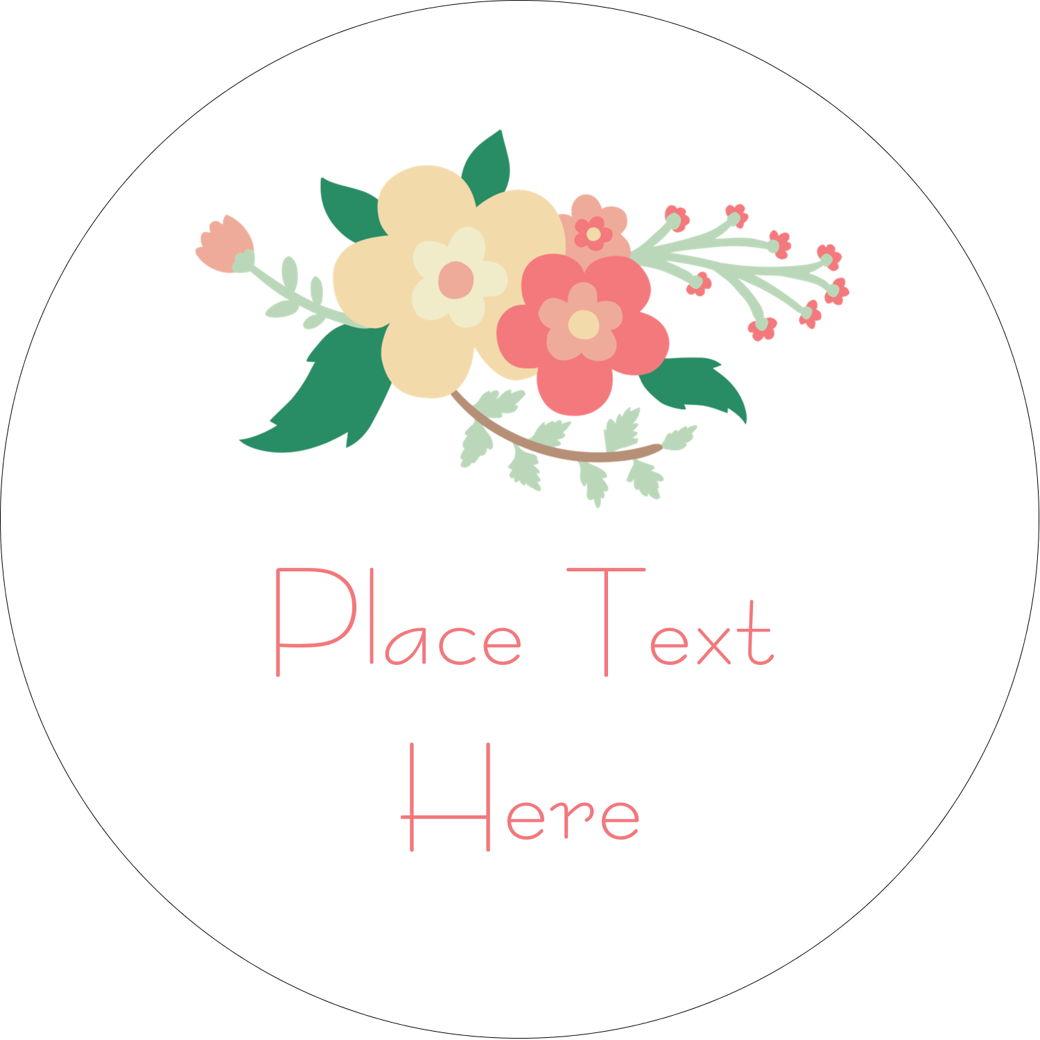 "2"" Embossed Round Label - Floral Wreath"