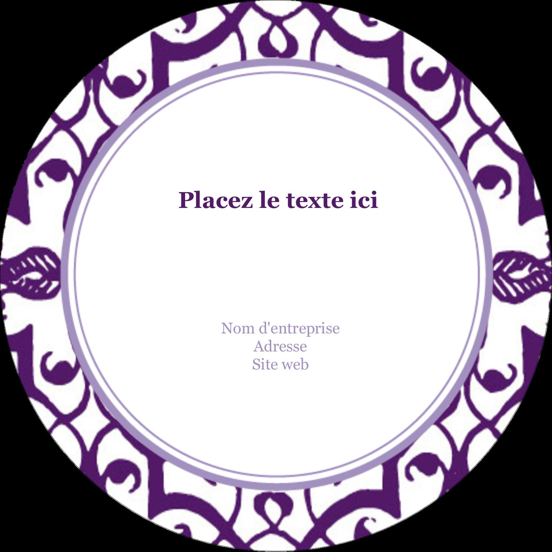 Motif de tourbillons violets Étiquettes arrondies - gabarit prédéfini. <br/>Utilisez notre logiciel Avery Design & Print Online pour personnaliser facilement la conception.