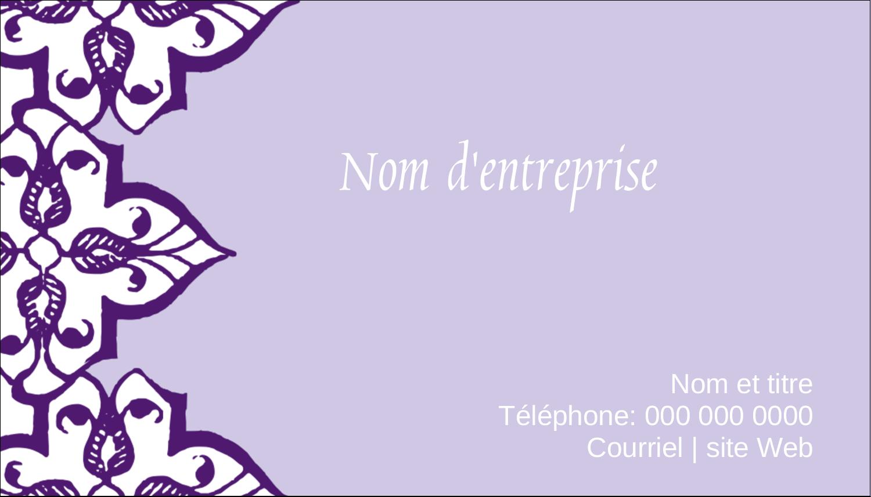 """3½"""" x 2"""" Carte d'affaire - Motif de tourbillons violets"""