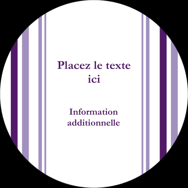Rayures violettes Étiquettes rondes - gabarit prédéfini. <br/>Utilisez notre logiciel Avery Design & Print Online pour personnaliser facilement la conception.