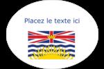 Drapeau de la Colombie-Britannique Étiquettes ovales - gabarit prédéfini. <br/>Utilisez notre logiciel Avery Design & Print Online pour personnaliser facilement la conception.