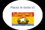 Drapeau du Nouveau-Brunswick Étiquettes ovales festonnées - gabarit prédéfini. <br/>Utilisez notre logiciel Avery Design & Print Online pour personnaliser facilement la conception.