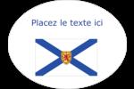 Drapeau de la Nouvelle-Écosse Étiquettes ovales festonnées - gabarit prédéfini. <br/>Utilisez notre logiciel Avery Design & Print Online pour personnaliser facilement la conception.
