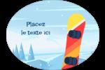 Planche à neige en montagne Étiquettes ovales festonnées - gabarit prédéfini. <br/>Utilisez notre logiciel Avery Design & Print Online pour personnaliser facilement la conception.