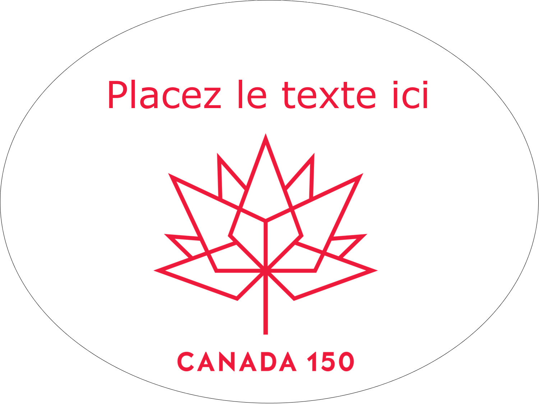 Canada 150 ans Étiquettes ovales festonnées - gabarit prédéfini. <br/>Utilisez notre logiciel Avery Design & Print Online pour personnaliser facilement la conception.