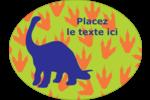Traces de dinosaures Étiquettes ovales festonnées - gabarit prédéfini. <br/>Utilisez notre logiciel Avery Design & Print Online pour personnaliser facilement la conception.