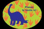 Traces de dinosaures Étiquettes ovales - gabarit prédéfini. <br/>Utilisez notre logiciel Avery Design & Print Online pour personnaliser facilement la conception.