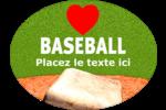 Amour du baseball Étiquettes ovales - gabarit prédéfini. <br/>Utilisez notre logiciel Avery Design & Print Online pour personnaliser facilement la conception.