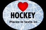 Amour du hockey Étiquettes ovales festonnées - gabarit prédéfini. <br/>Utilisez notre logiciel Avery Design & Print Online pour personnaliser facilement la conception.