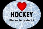 Amour du hockey Étiquettes ovales - gabarit prédéfini. <br/>Utilisez notre logiciel Avery Design & Print Online pour personnaliser facilement la conception.