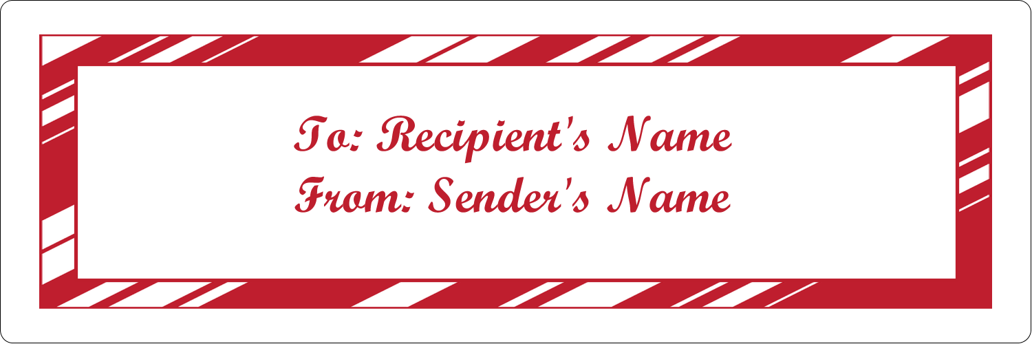 "1⅓"" x 4"" Address Label - Candy Cane Pattern"