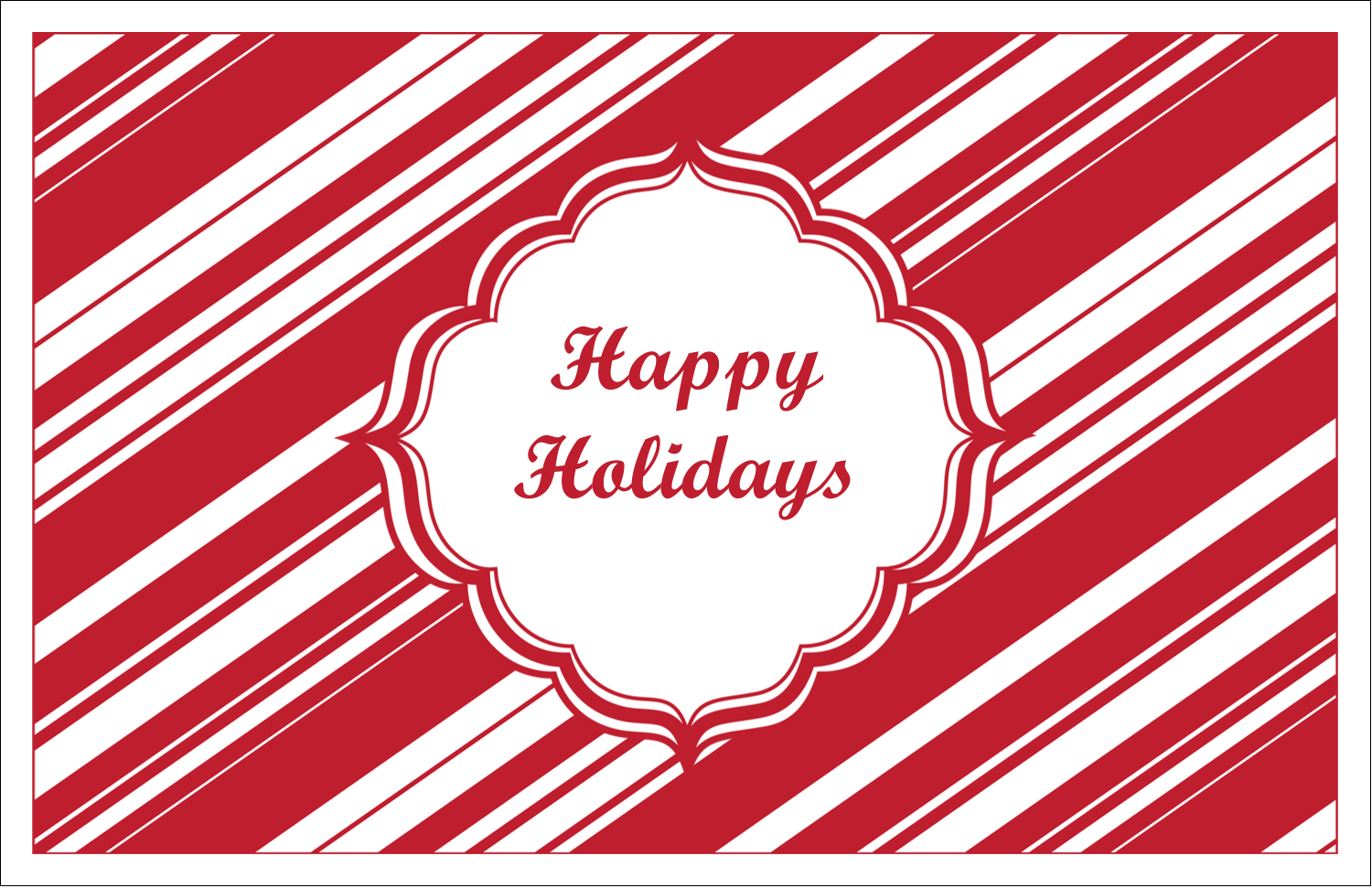 "5½"" x 8½"" Greeting Card - Candy Cane Pattern"