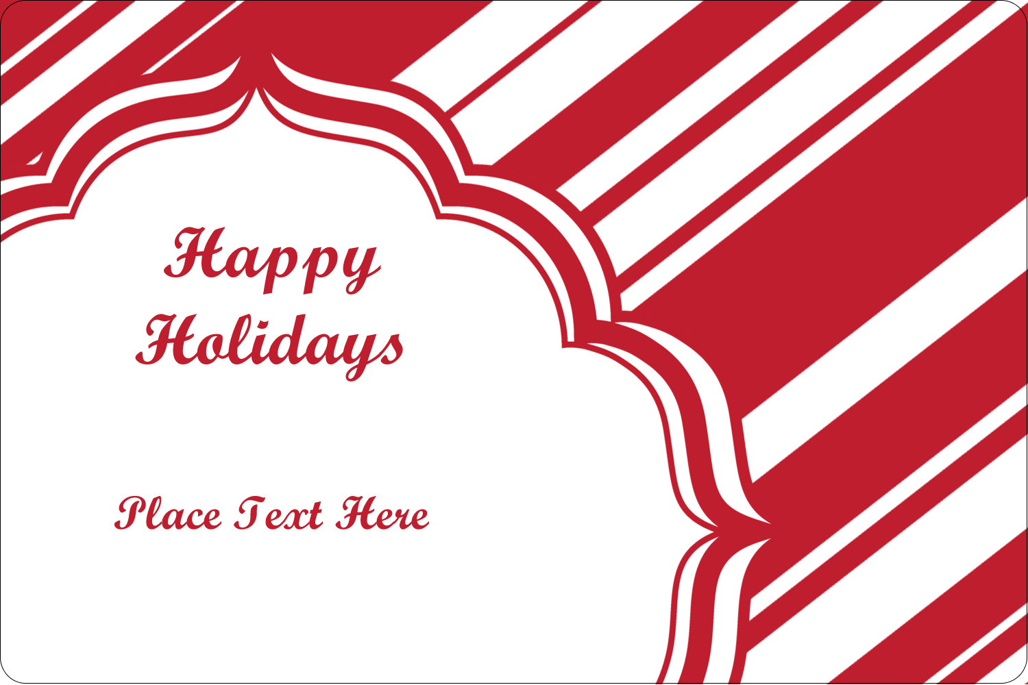 "2"" x 3"" Rectangular Label - Candy Cane Pattern"