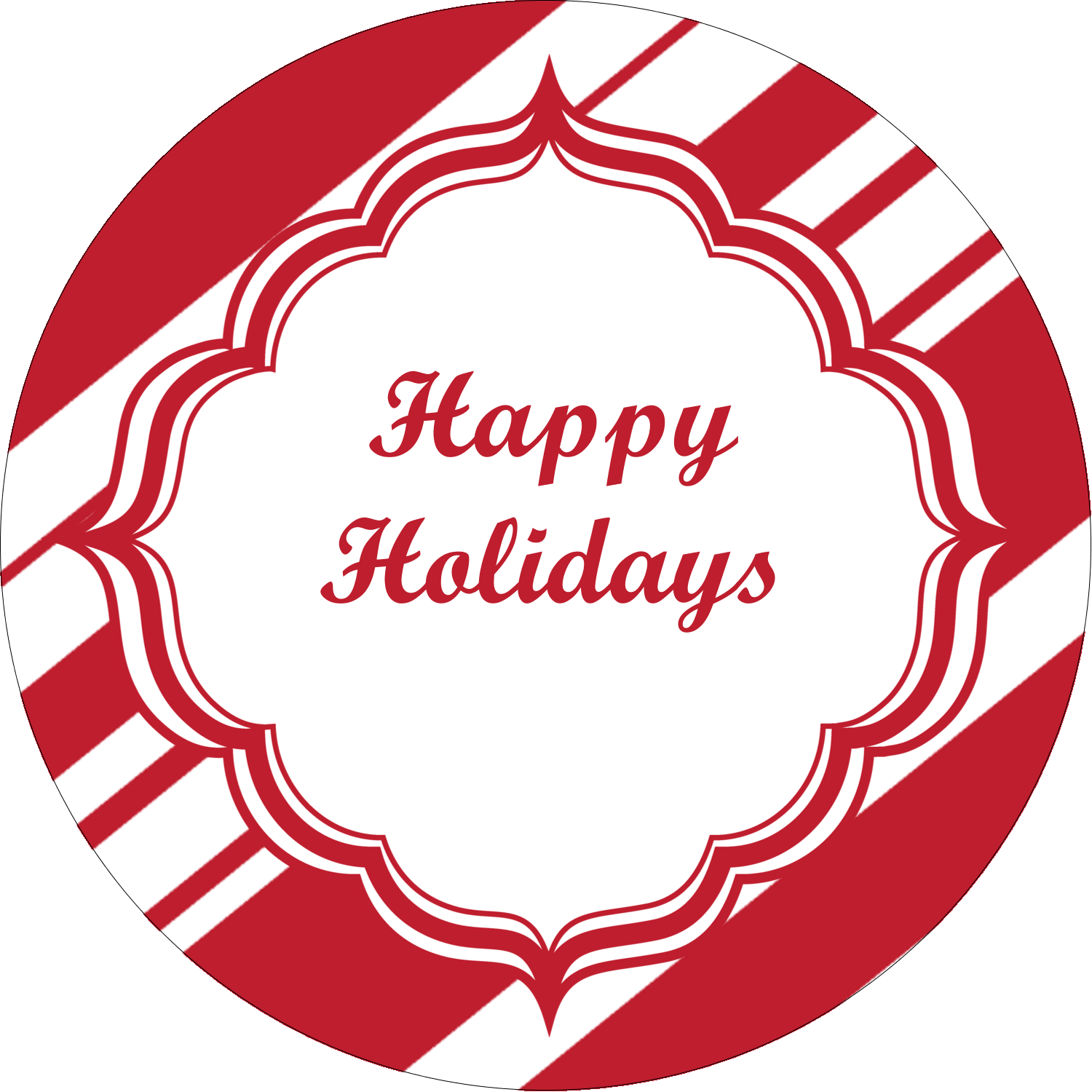"""2½"""" Round Label - Candy Cane Pattern"""