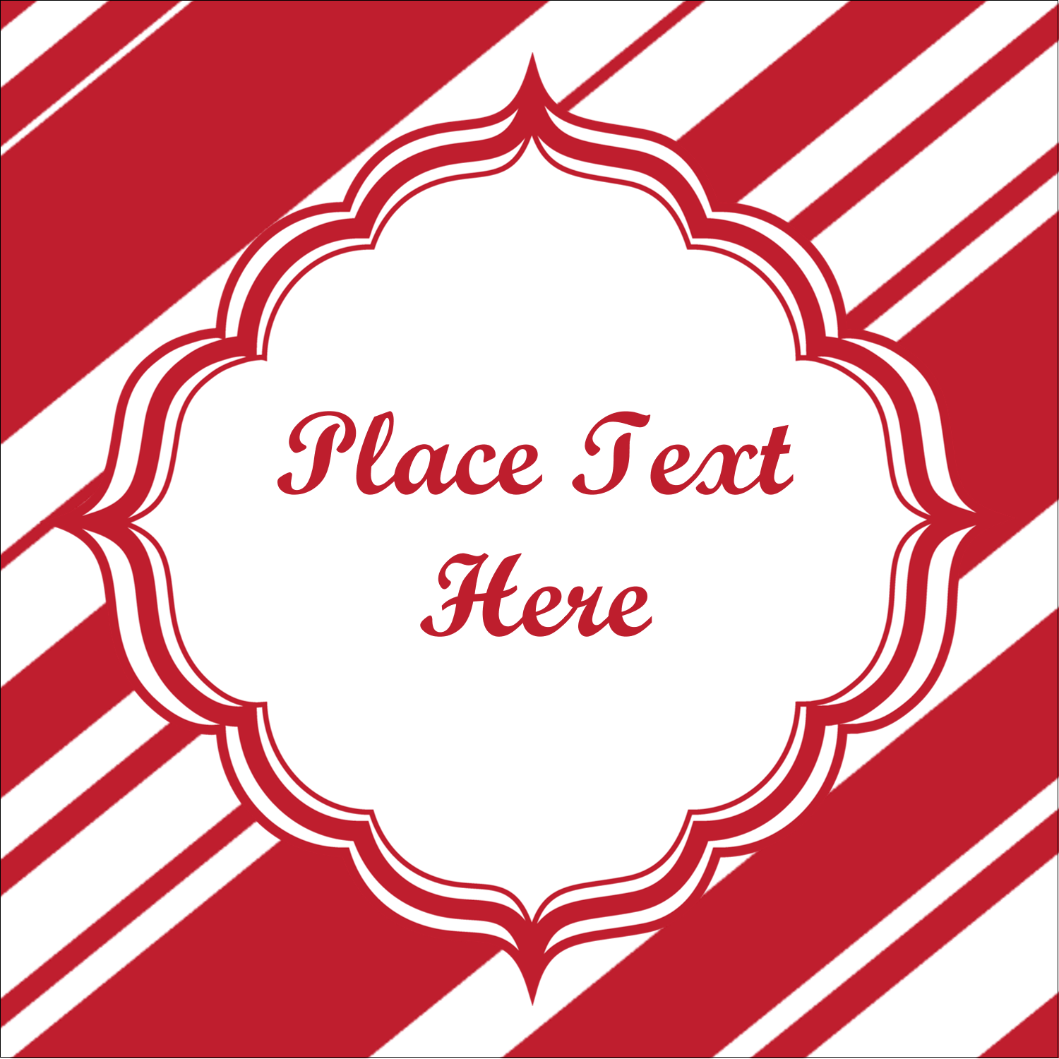 "1½"" x 1½"" Square Label - Candy Cane Pattern"