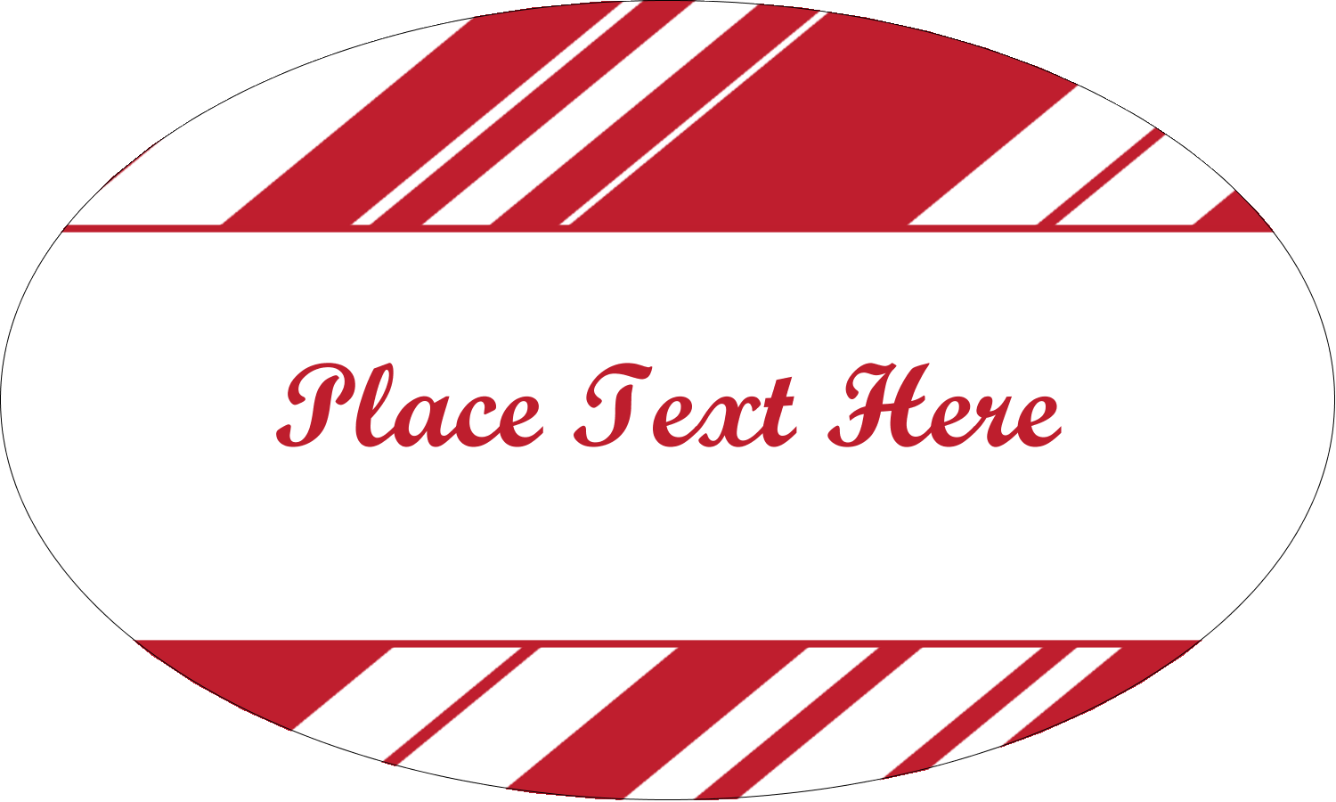 "1½"" x 2½"" Oval Glossy Label - Candy Cane Pattern"