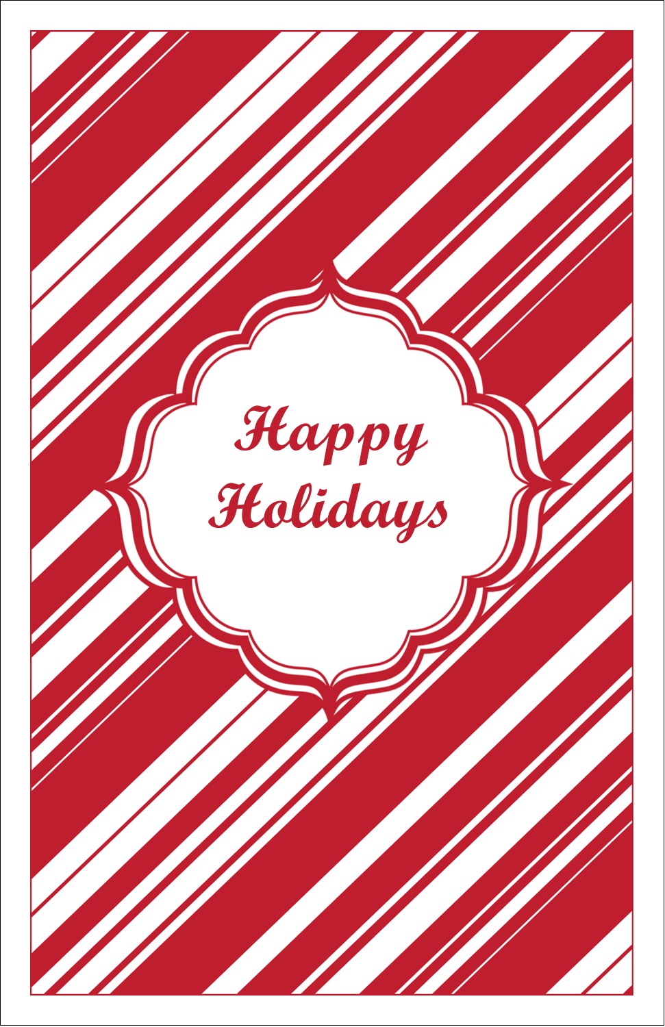 "5"" x 8½"" Half Fold Card - Candy Cane Pattern"